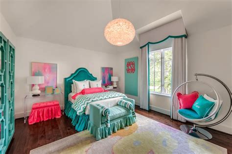 teal and pink bedroom teal headboards contemporary girl s room talbot
