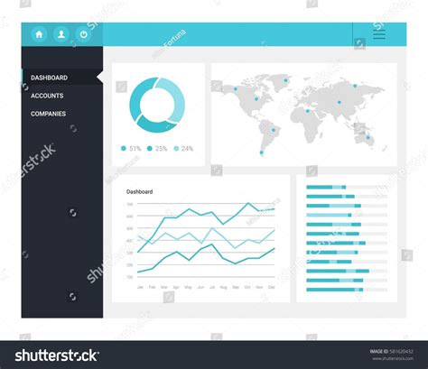 Infographic Dashboard Template Flat Design Graphs Stock Vector 581620432 Shutterstock Infographic Dashboard Template