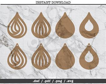 Earring Card Template Silhouette by Leather Template Etsy
