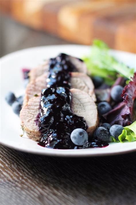 Blueberry Topping pork tenderloin with blueberry sauce