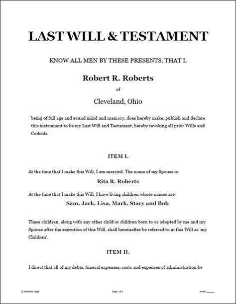 last will and testament free template maryland last will testament forms software standard