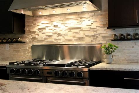 stone backsplash ideas for kitchen stacked stone backsplash combination for modern kitchen