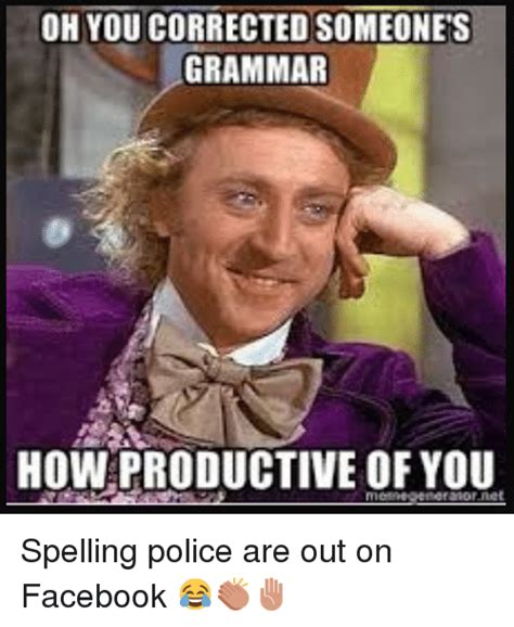 Spelling Police Meme - oh you corrected someones grammar how productive of you