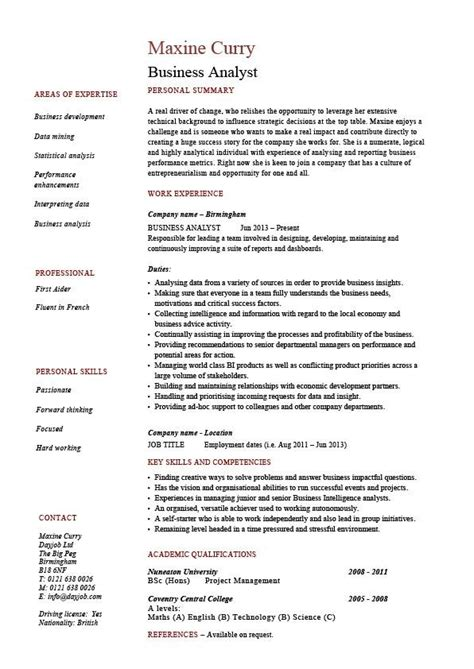 Resume Sles For Business Analyst Resumes For Business Analyst Best Resume Gallery