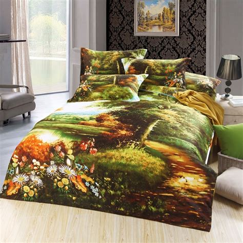 Forest Bedding by Forest Green And Burnt Orange Lake Print Rainforest