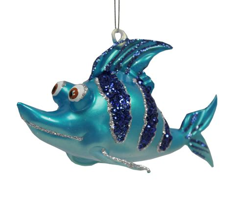 tropical ocean reef shark fish christmas ornament blue