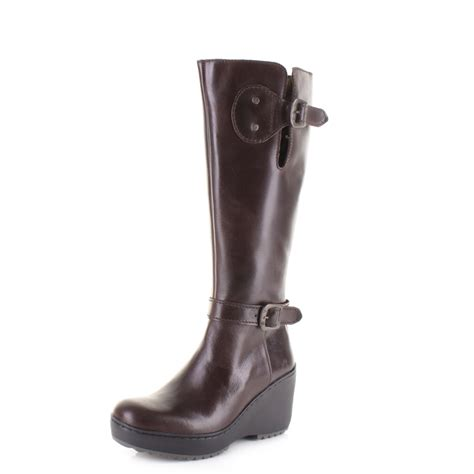 womens fly mlea rug brown leather knee high wedge