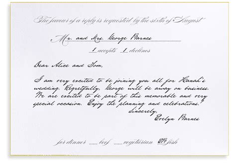 Invitation Letter Rsvp Rsvp Etiquette Traditional Favor Dinner Options Filled Out
