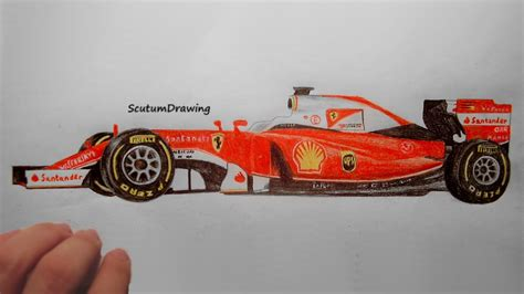car ferrari drawing ferrari sf16 h speed drawing how to draw f1 car youtube