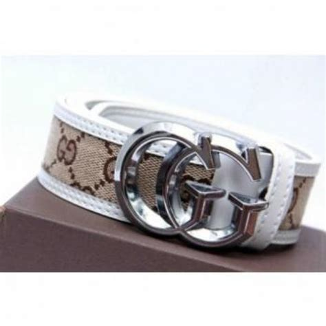 Guc Ci Silver White gucci white textured belt with silver buckle in pakistan