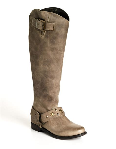 betsey johnson boots betsey johnson leigh leather boots in gray lyst