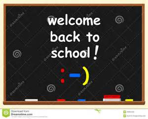 Illustration of a chalkboard with welcome back to school text over it