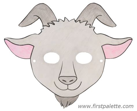 printable mask goat printable animal masks craft kids crafts firstpalette com