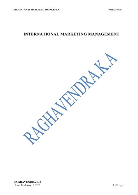 International Financial Management Mba Notes by Imm 4th Sem Notes