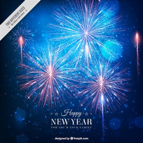 fantastic new year background with bright fireworks vector