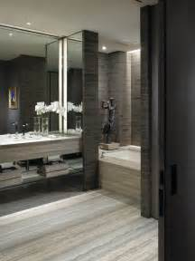 grey travertine for contemporary bathroom with gray tile
