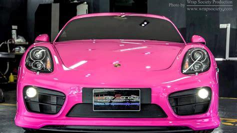 matte pink porsche porsche cayman techart gt wrapped 3m scotchprint series