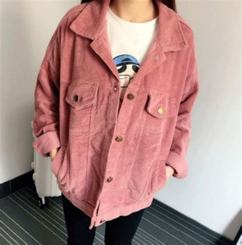 Jaket Wiguam Series Pink jacket girly pink corduroy fashion corduroy jacket button up corduroy velventeen
