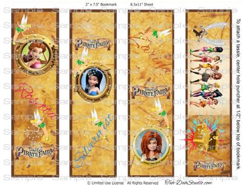 printable pirate bookmarks disney tinker bell tinkerbell pirate fairy bookmarks 2