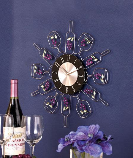 wine bottle wall clock vineyard wine themed kitchen home
