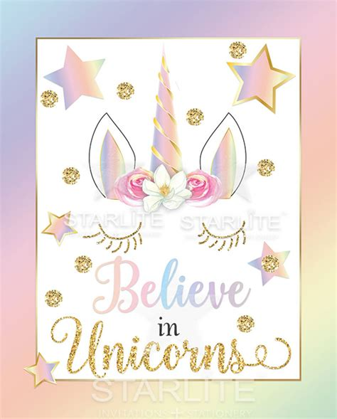 printable birthday cards no sign up unicorn party sign believe in unicorns rainbow printable
