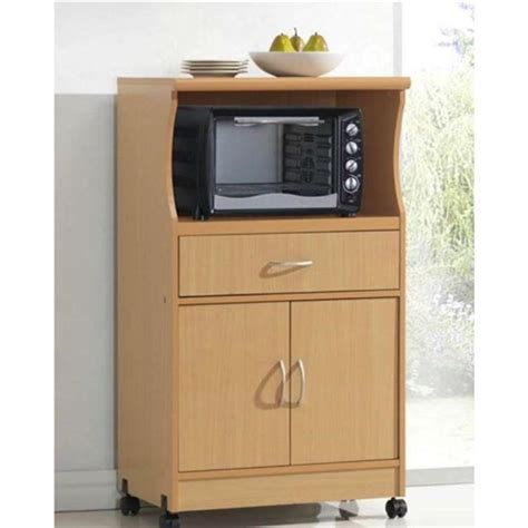 beech wood microwave cart kitchen cabinet  wheels