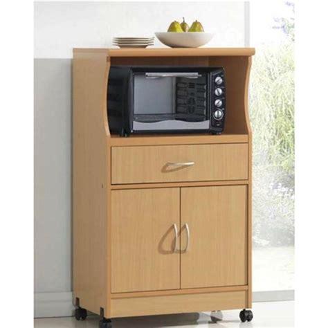 beech wood microwave cart kitchen cabinet  wheels