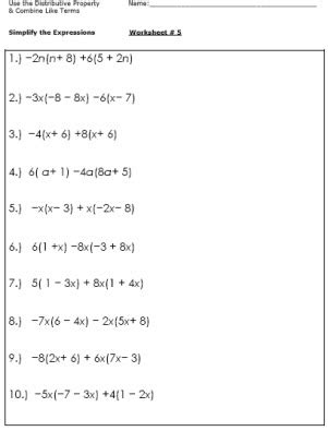 Distributive Property And Combining Like Terms Worksheet by Algebra Worksheets For Simplifying The Equation Algebra