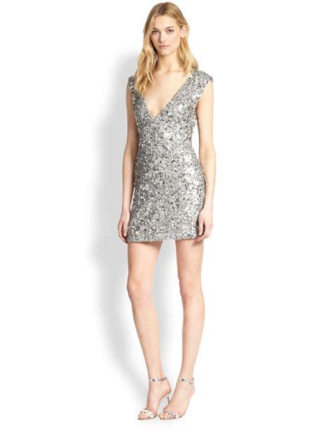 Silver Mini Dress v neck sequined mini dress in silver lyst
