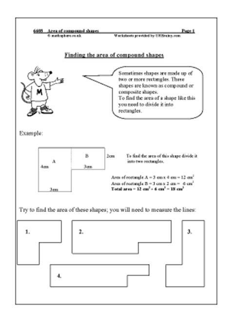 worksheets. composite figures area worksheet. opossumsoft