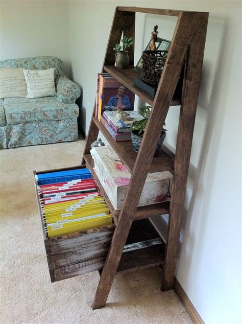 ladder shelf with file drawer ana white ladder filing cabinet diy projects