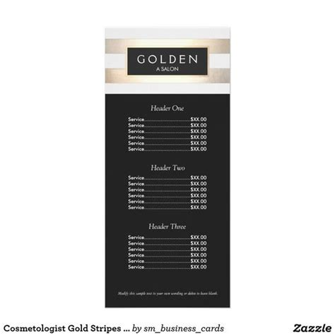 spa menu card template hair salons gold stripes and hair on