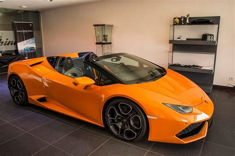 Lamborghini Spider by Orange Lamborghini Huracan Spyder Displayed In Madrid