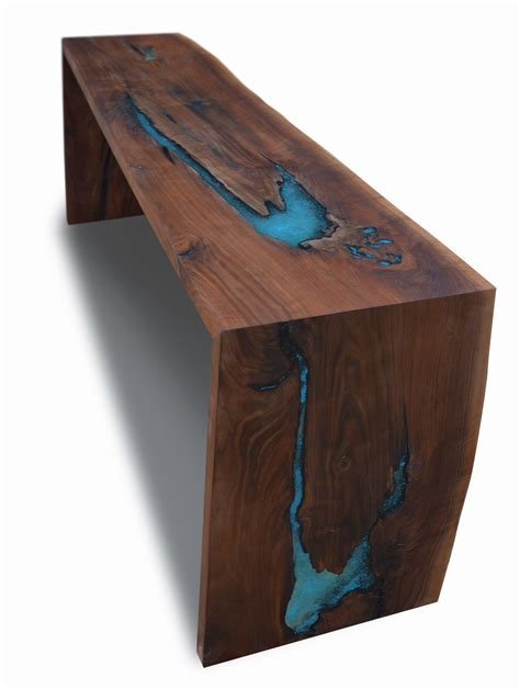 Turquoise Inlay Table by Coffee Table Custom Made Live Edge Walnut Epoxy Resin