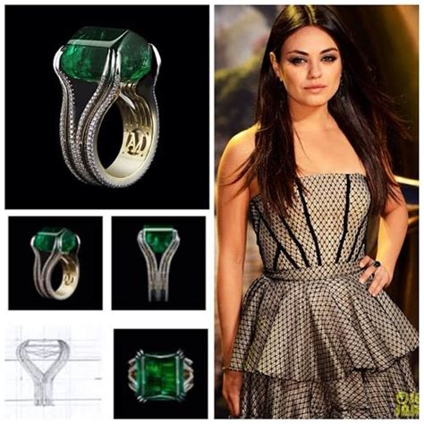 alexandra mor emerald ring featured on mila kunis for
