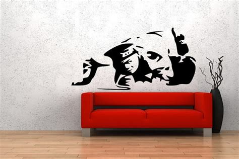 Wall Stiker Uk 60x90 Wall Sticker Sepasang Ranting Daun Hijau cop snorting coke from banksy on your wall it 180 s possible