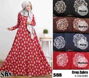 Gamis Crepe Motif gamis motif bunga crep zahra baju muslim murah