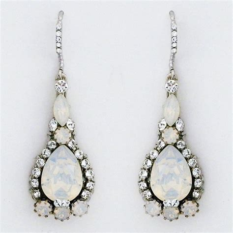 white opal crystal haute bride earrings teardrop earrings white opal crystal