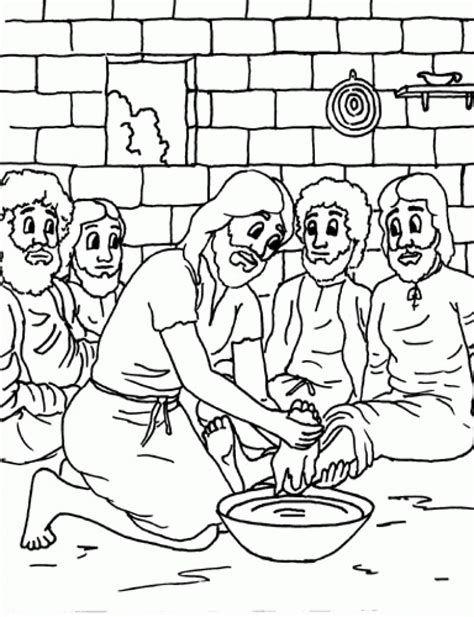 Stylish Jesus Washes The Disciples Feet Coloring Page To Jesus Washes The Disciples Coloring Page