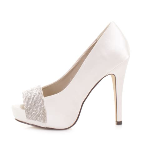 Wedding Shoes High Heels Ivory by Bridal Wedding Ivory Satin Diamante Peep Toe Platform High
