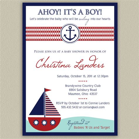nautical baby shower invitations templates ahoy it s a boy nautical baby shower invitation by