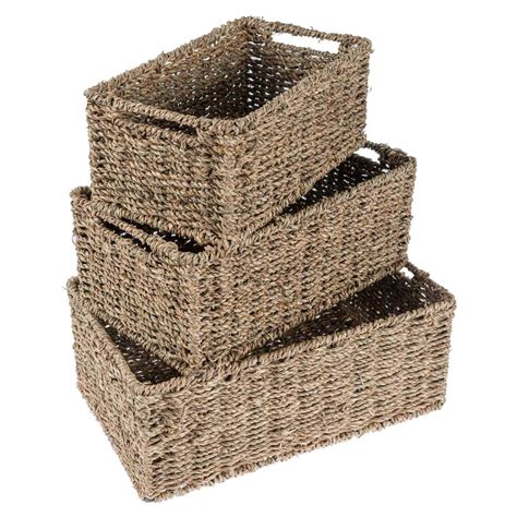 natural seagrass round wicker basket storage waste paper seagrass natural square round rectangular multipurpose