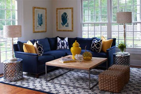 navy sofa living room navy blue and yellow room design ideas