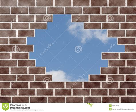 brick wall open to the sky stock image image of wall 21519805