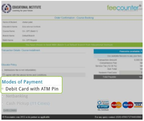can i make payment using debit card feecounter payment options