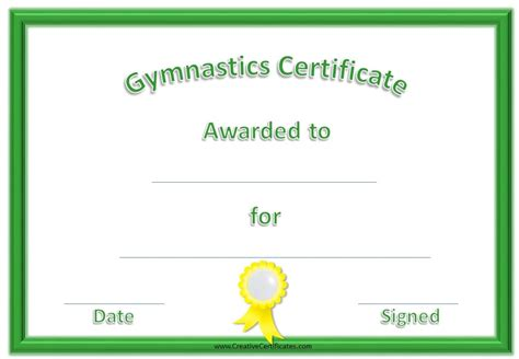 gymnastics certificate template gymnastics awards