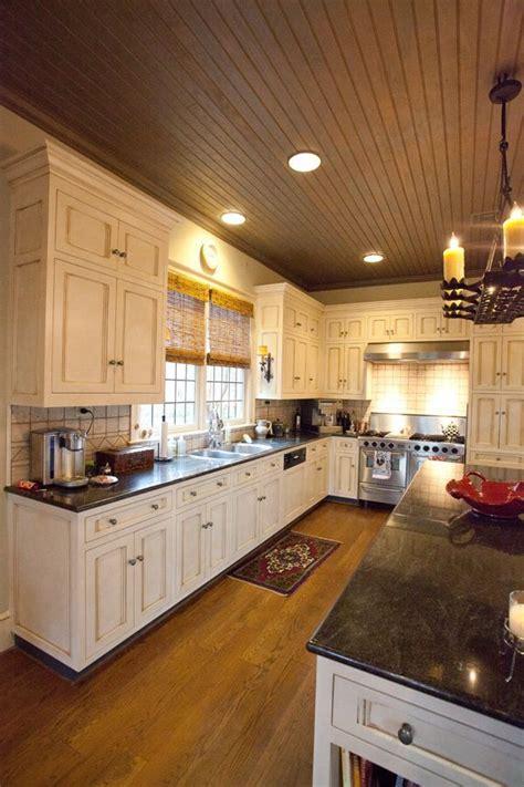 wood kitchen ceiling bead board cabinets kitchen cream