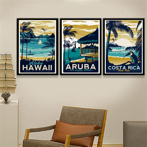 antique gas canvas poster print home wall decor vintage poster hawaii tropical sea seascape canvas print modern landscape picture