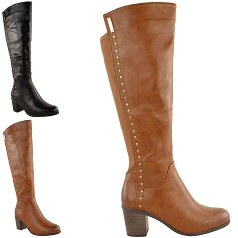 boots for big leg womens wide leg knee high mid calf block heel