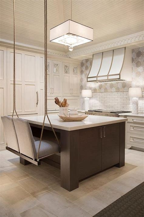 Brown Kitchen Island with Swinging Rope Stools   Cottage